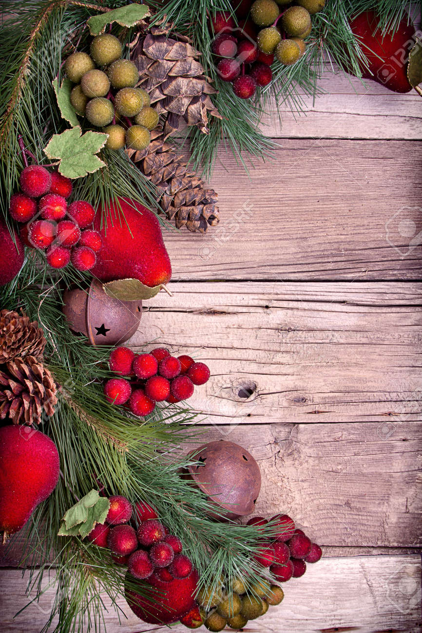 Pine Branches For Decoration Christmas Decorative Fruit And Pine Branches On Wooden Background