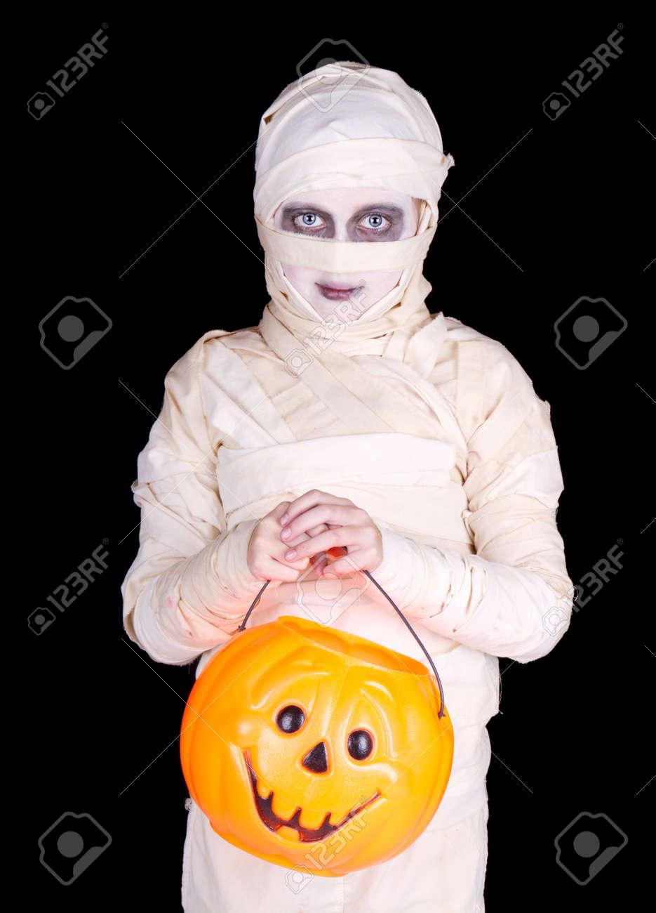 Kind Wie Eine Mumie Halloween Kostüm Hält Einen Trick Gekleidet Oder