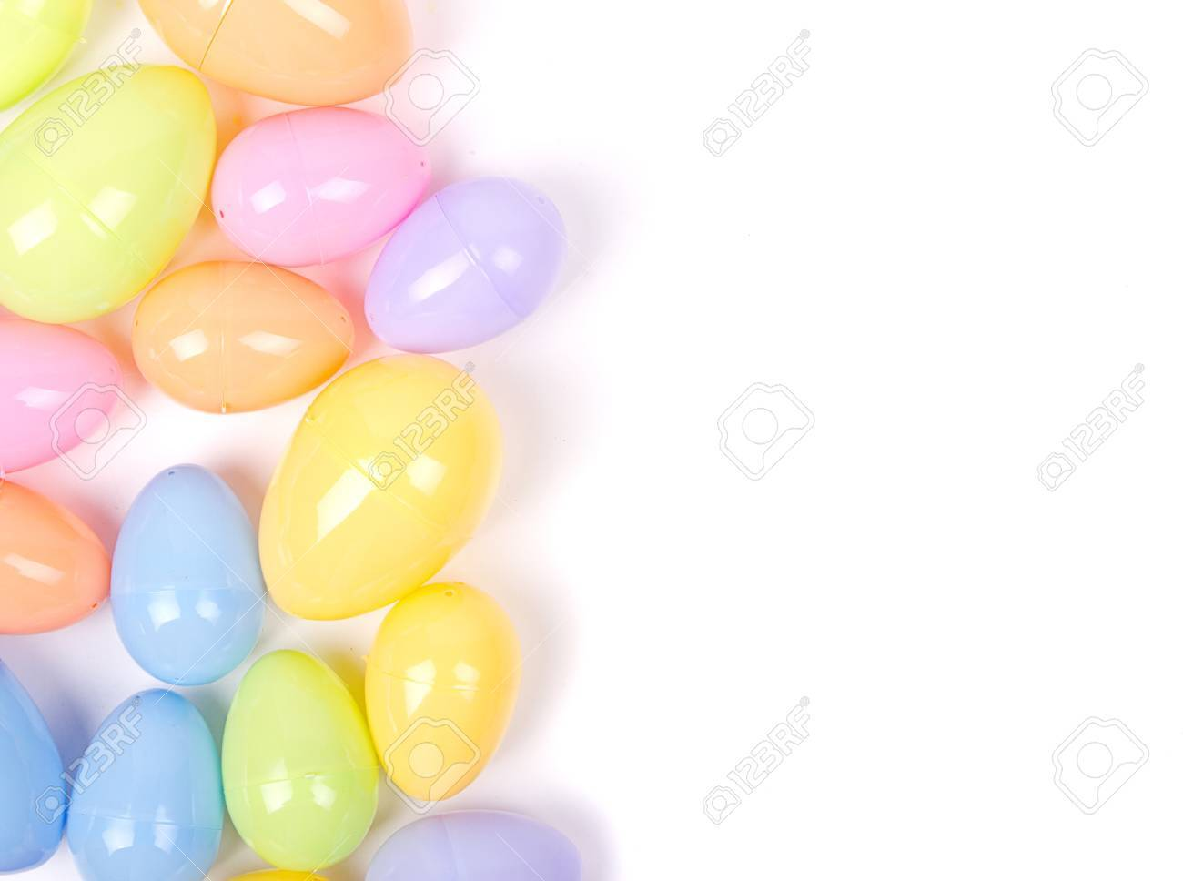 Plastic Easter Eggs On A White Background Stock Photo