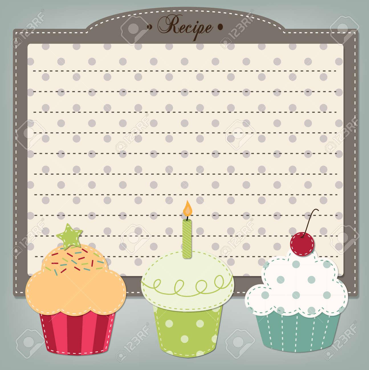 Retro cupcake recipe card menu or birthday invitation dashed retro cupcake recipe card menu or birthday invitation dashed lines for text stock vector stopboris Choice Image