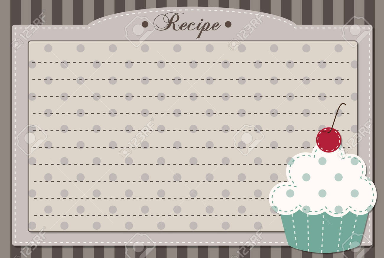 Retro cupcake recipe card, dashed lines for text Stock Vector - 26161078