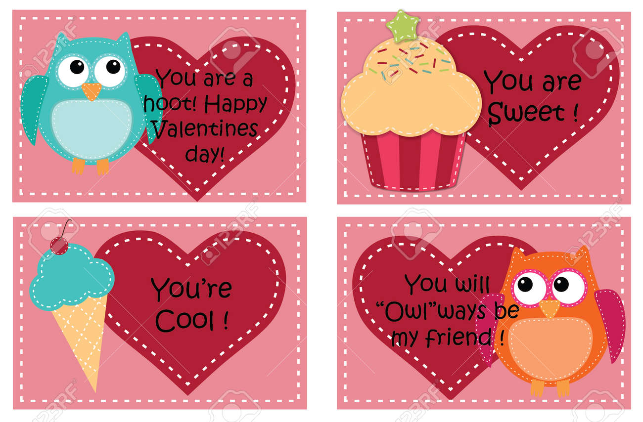 Four Valentine Card Templates With Owls Cupcakes And Ice Cream – Valentines Cards Templates