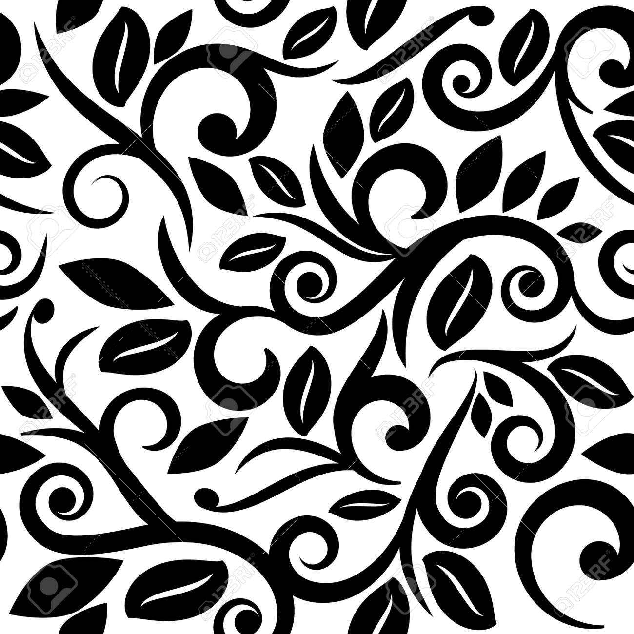 Black And White Or Transparent Seamless Floral Background Square