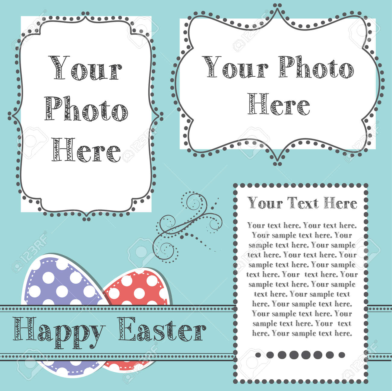 Easter design template with two 4x6 transparent frames for your
