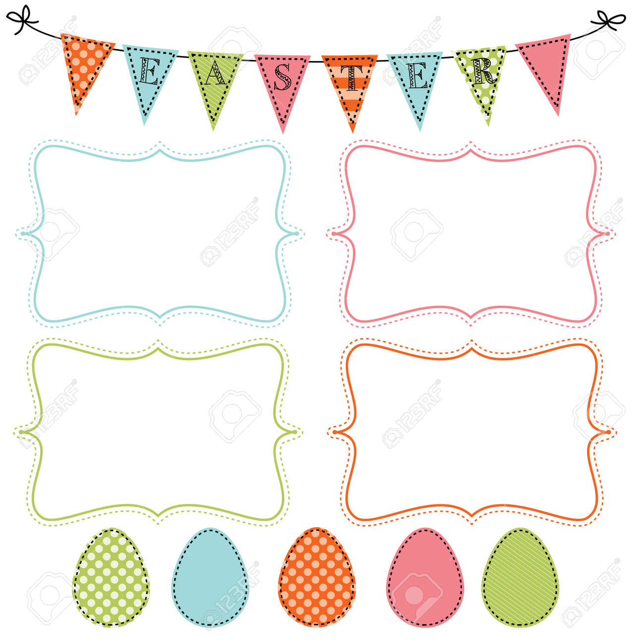 Easter design template with four 4x6 frames for your events easter design template with four 4x6 frames for your events scrapbooking or invitation designs vector stopboris