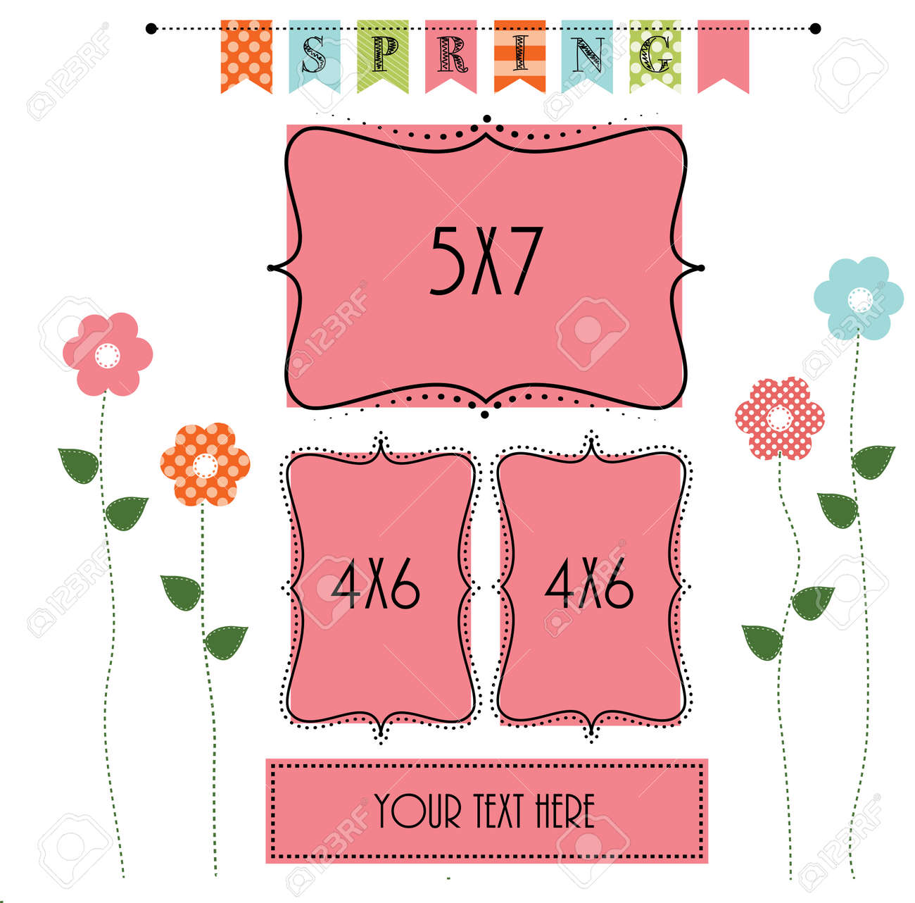 Easter Design Template With Two 4x6 And One 5x6 Frame For Your ...