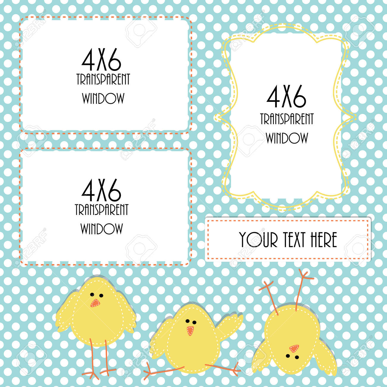 Easter Or Spring Design Template With Three 4x6 Transparent Frames ...