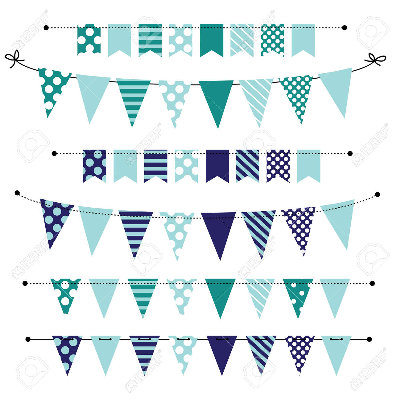 Blue Blank Banner Bunting Or Swag Templates For Scrapbooking Royalty Free Cliparts Vectors And Stock Illustration Image 27747480