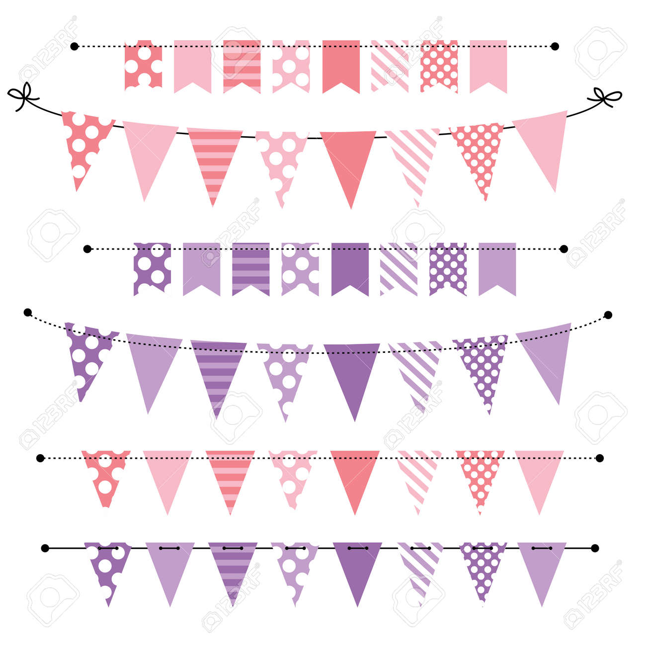 Pink And Purple Blank Banner Bunting Or Swag Templates For Scrapbooking Royalty Free Cliparts Vectors And Stock Illustration Image 27747479