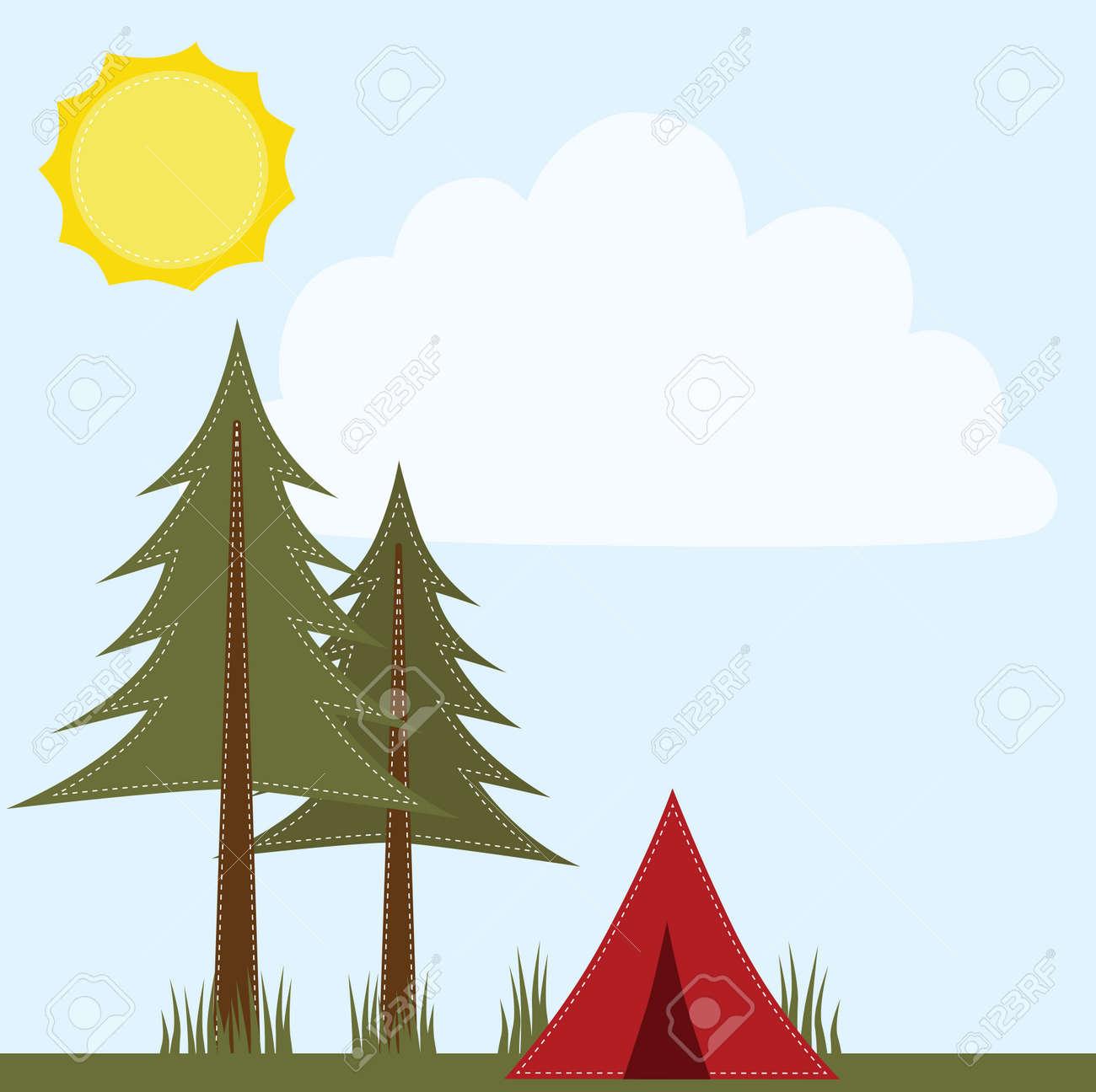 Camping-Szene Mit Kiefer Und Zelt 4x6 Rahmen Für Fotos, 12x12 ...