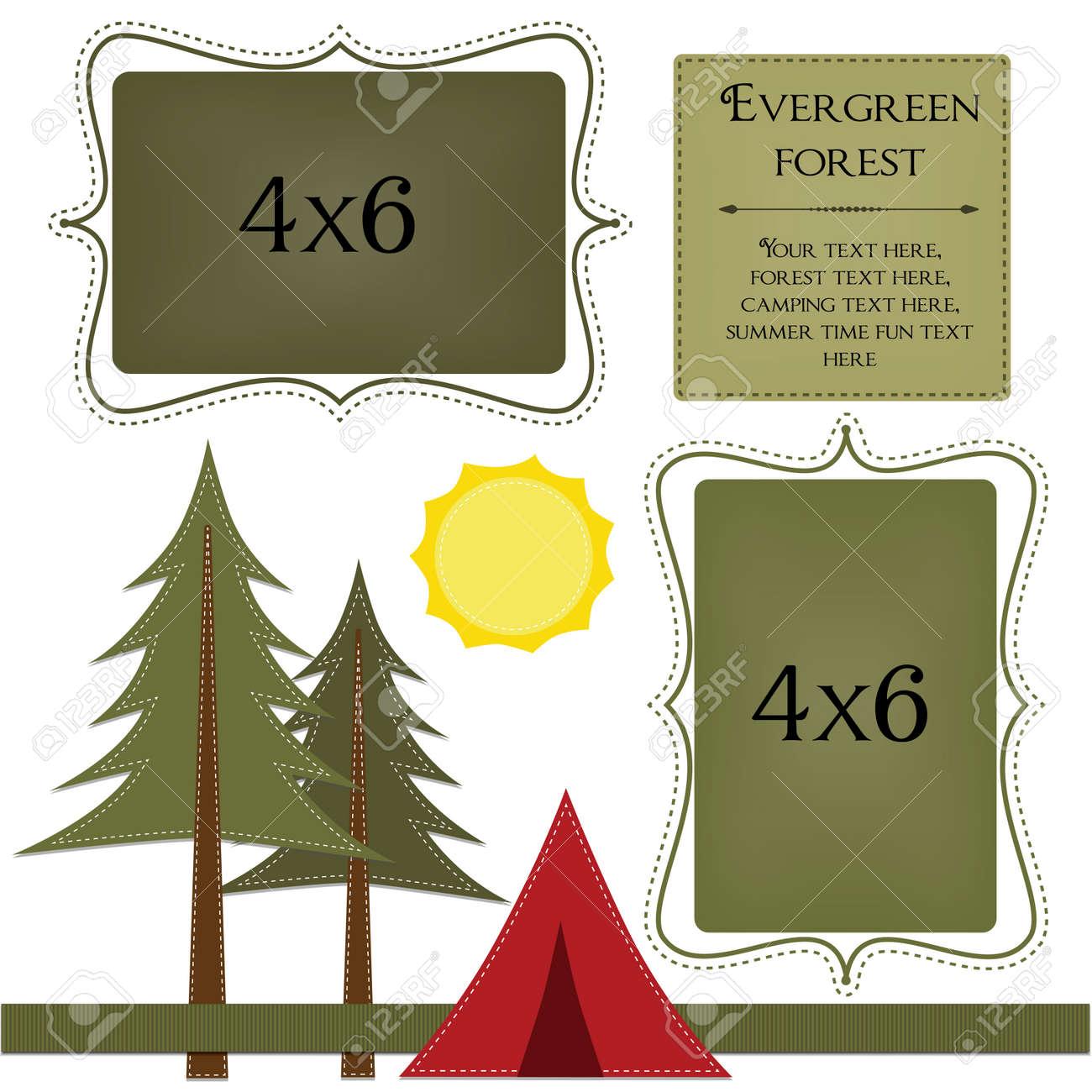 Camping-Vorlage Mit Pinien Und Zelt 4x6 Rahmen Für Fotos ...