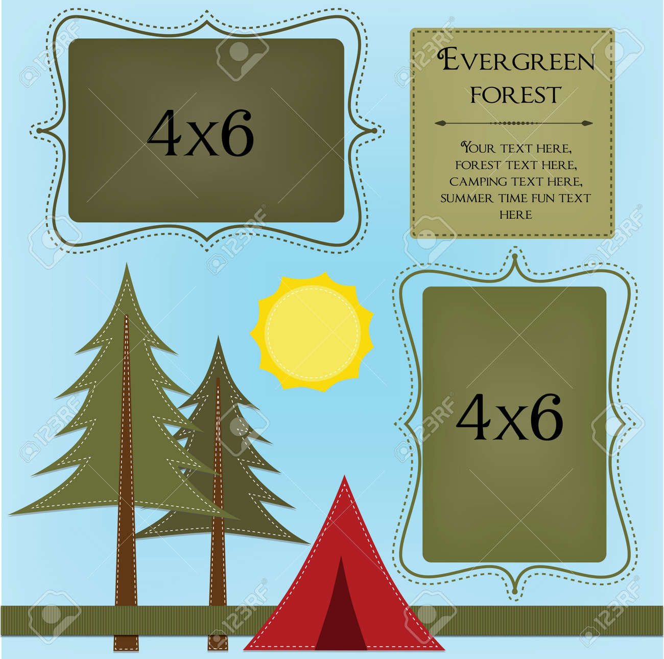 Camping Template With Pine Trees And Tent 4x6 Frames For Photos ...