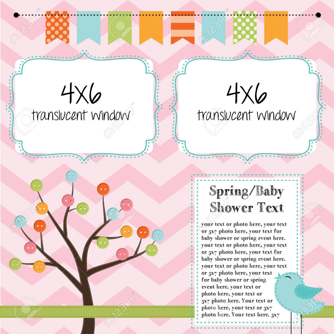 Spring, baby shower, or summer layout with trees, birds and banner or bunting, background for scrapbooking, vector format - 27747631