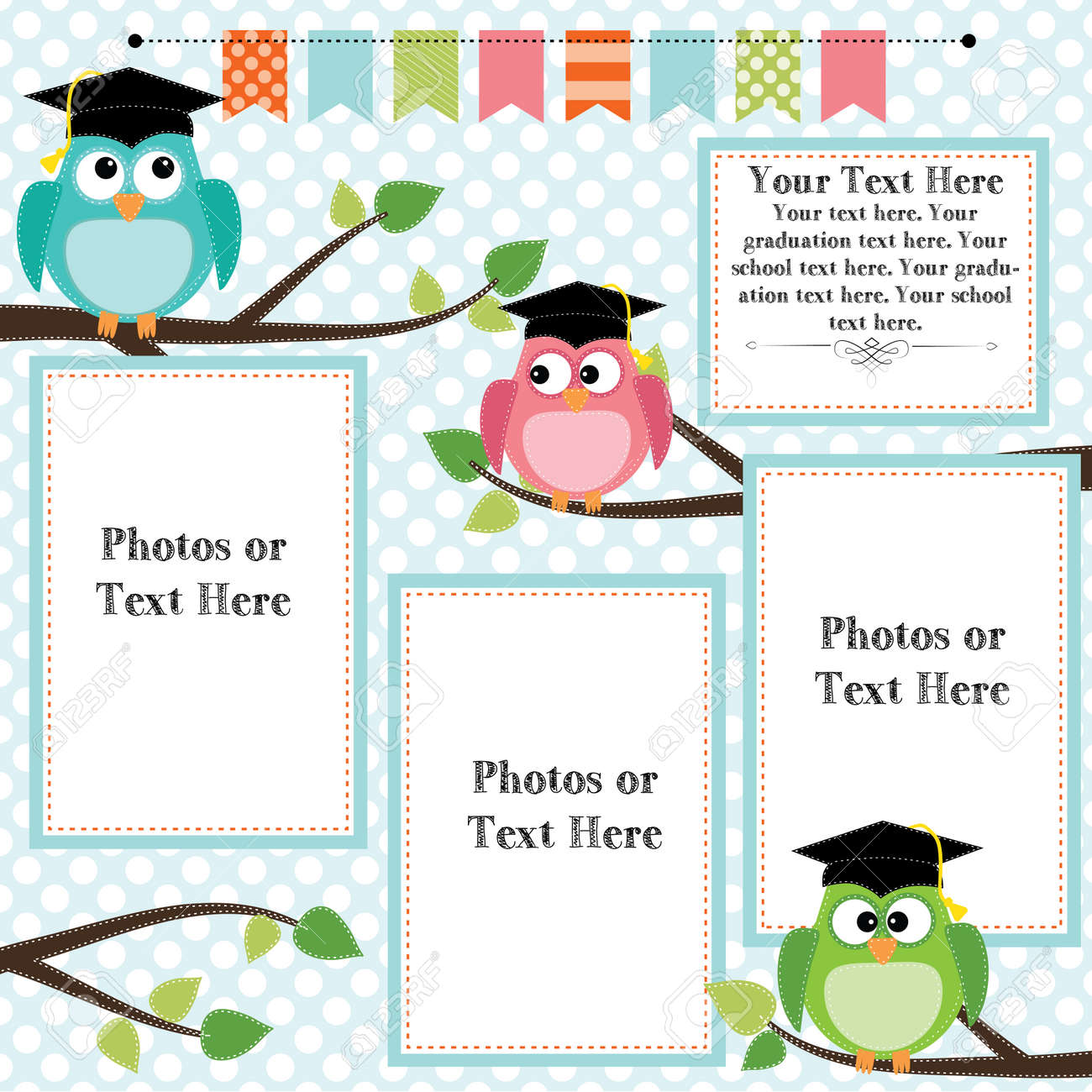 Owls wearing graduation caps with banner or bunting for text, layout for photos, text or scrapbooking, vector format Stock Vector - 27747540