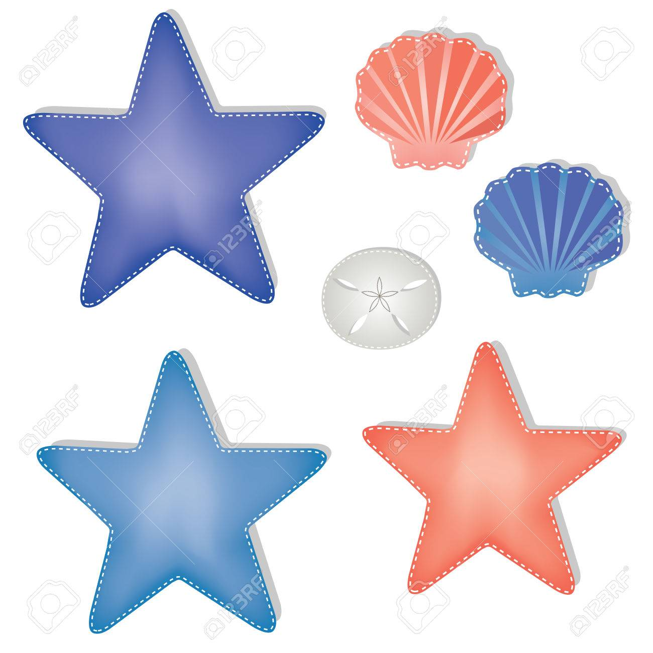 sea shells and starfish on a transparent background scrapbooking rh 123rf com
