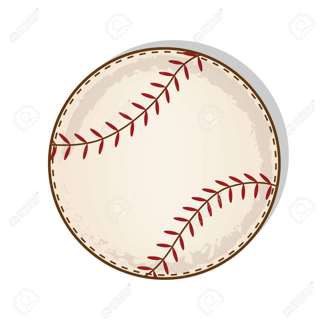 Aged Vintage Baseball Vector On A Transparent Background Stock