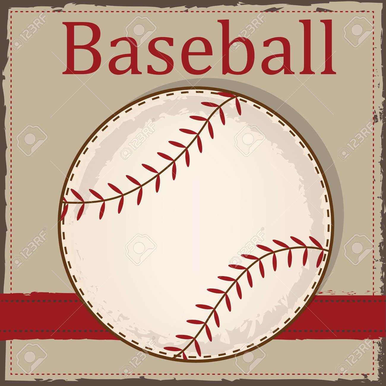 Vintage Baseball Layout For Scrapbooking Cards Or Backgrounds