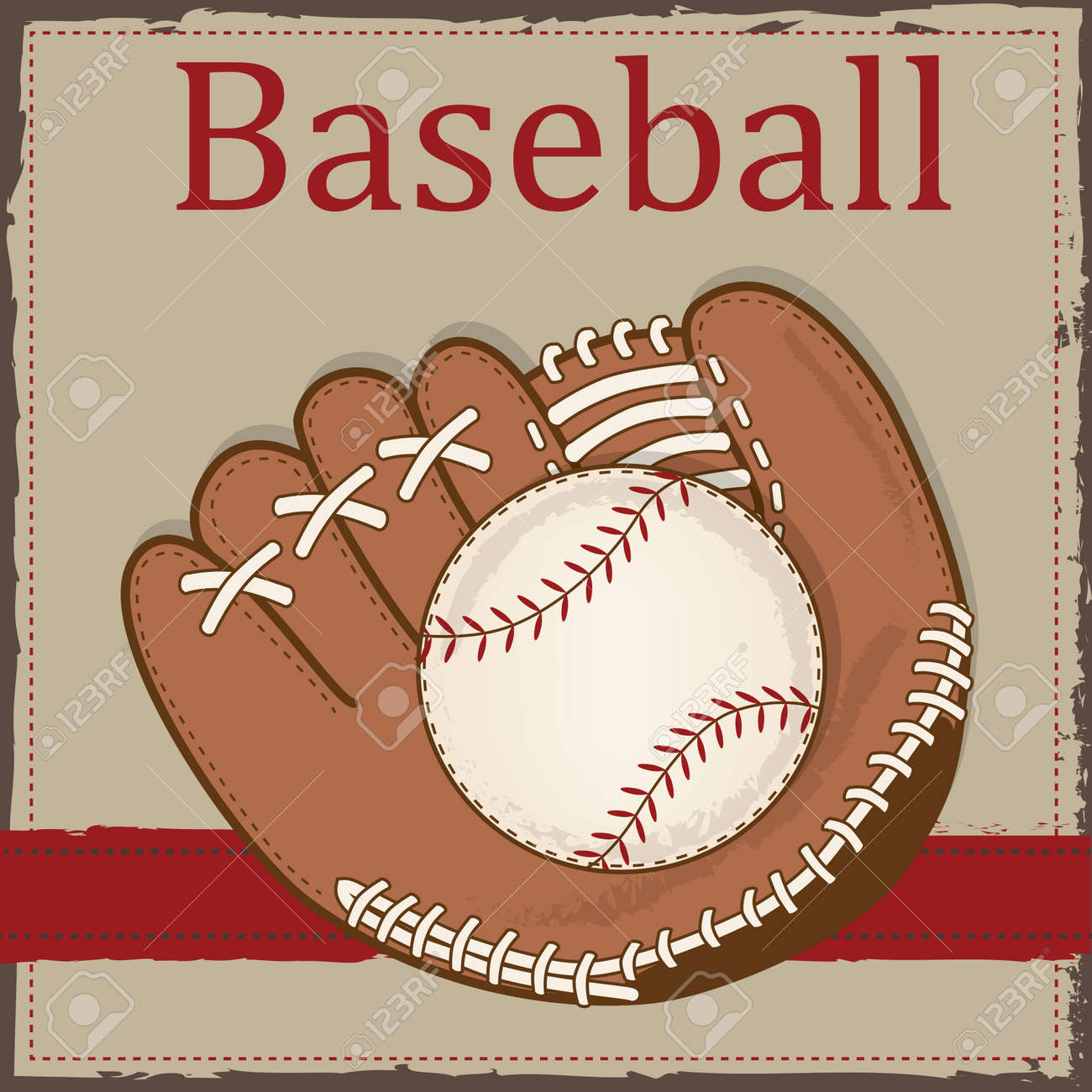 Vintage Baseball And Glove Or Mitt Layout For Scrapbooking Cards