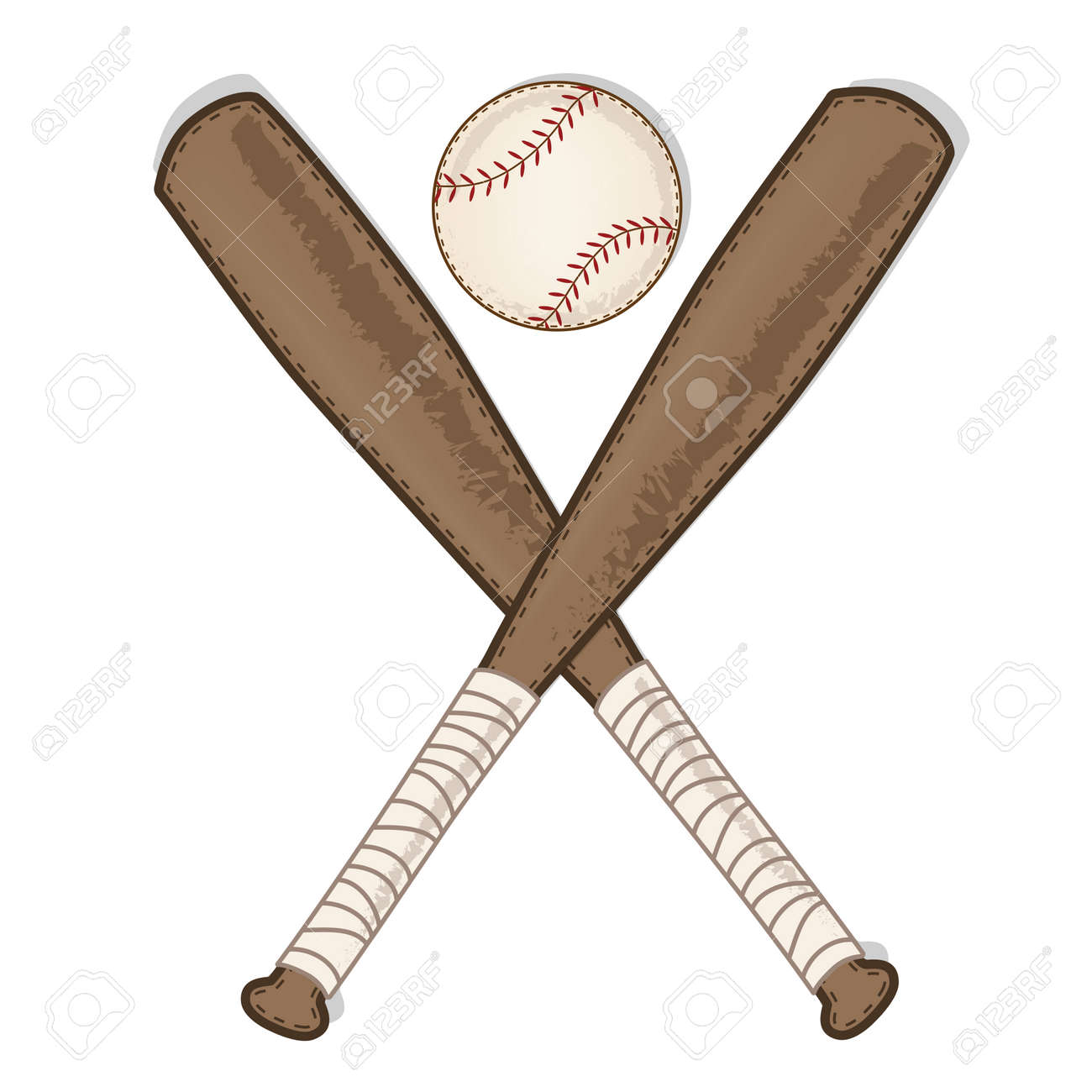 Vintage Baseball And Wooden Bat On Transparent Background Vector