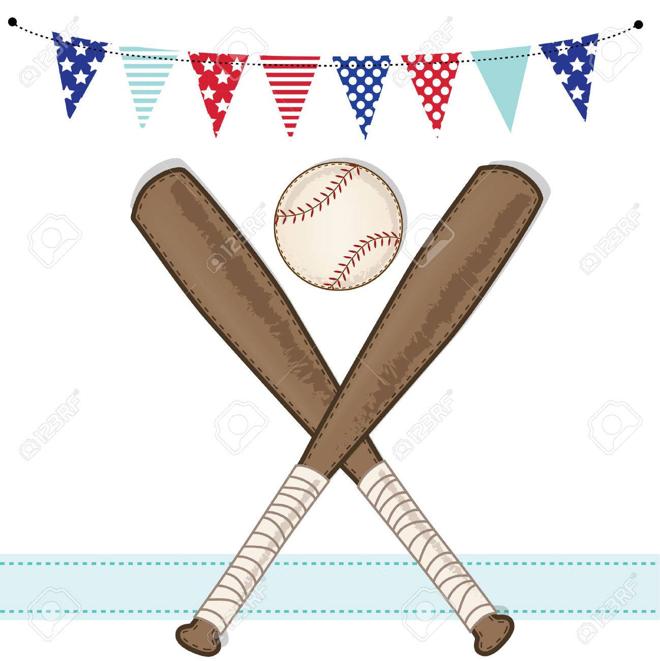 baseball and bat with american patriotic banners and frame layout for scrapbooking or cards