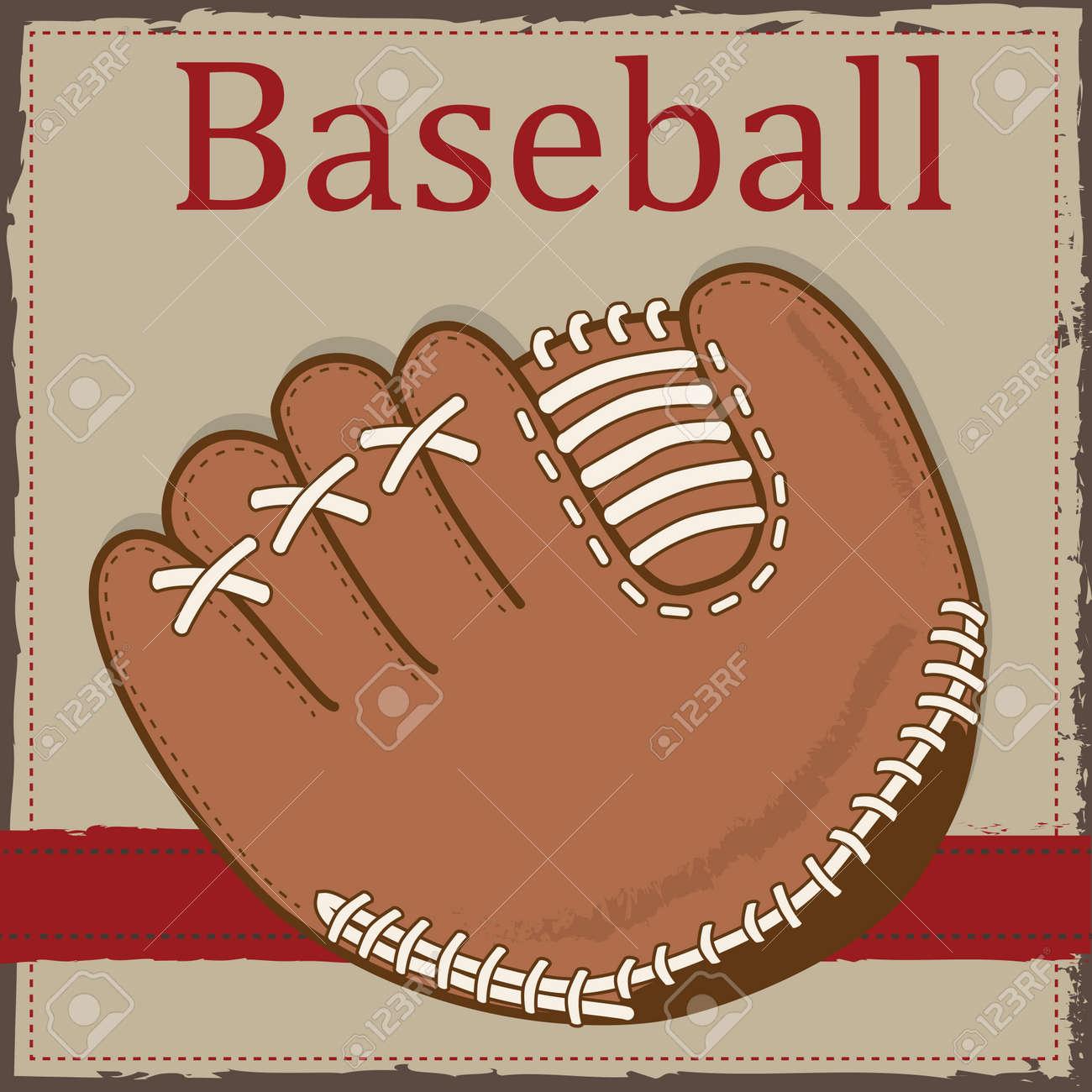 Vintage Baseball-Handschuh Oder Mitt Layout Für Scrapbooking, Karten ...