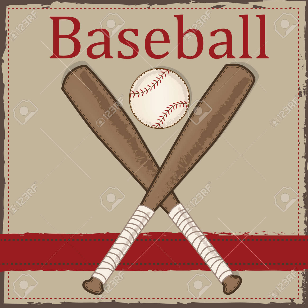 Vintage Baseball And Wooden Bat Layout For Scrapbooking Cards