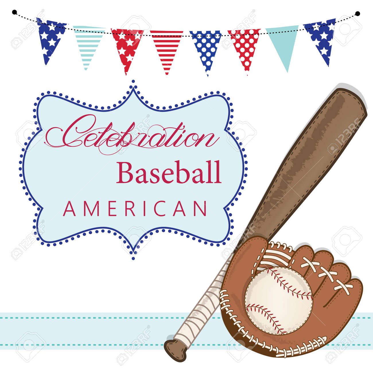 Baseball, mitt or glove, and bat with american patriotic banners and frame, layout for scrapbooking or cards, transparent background, vector format Stock Vector - 28389872