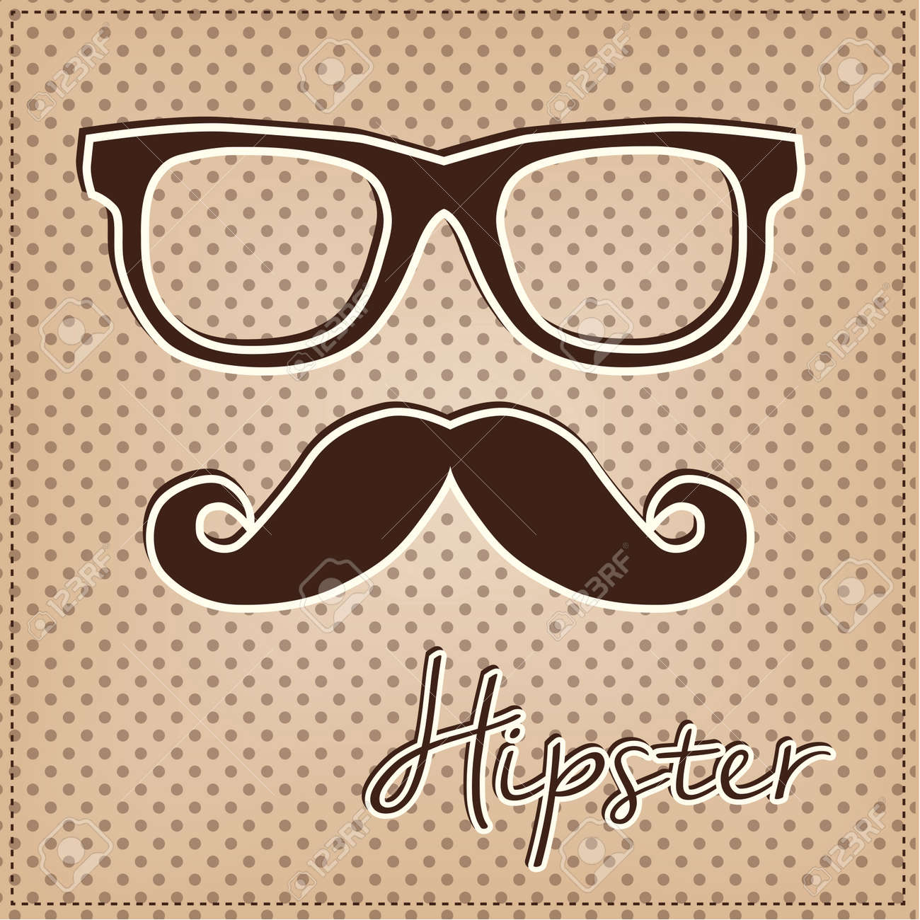 d71452280 Eye glasses and mustache, vintage or retro hipster elements on polka dot  background, vector