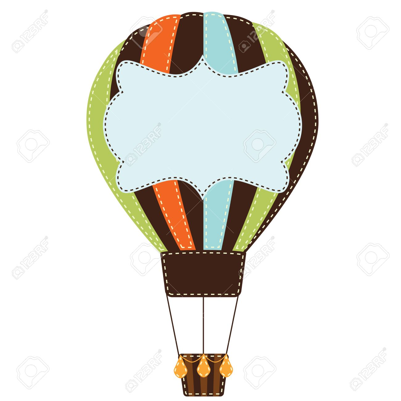 Vintage Or Retro Hot Air Balloon On Transparent Background With