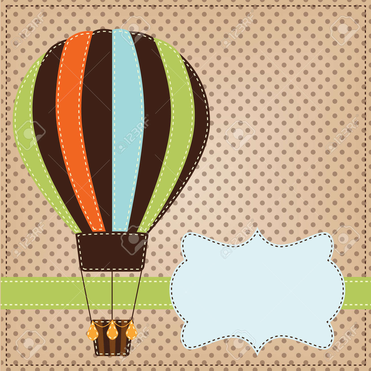 Vintage Or Retro Hot Air Balloon On Polka Dot Background With
