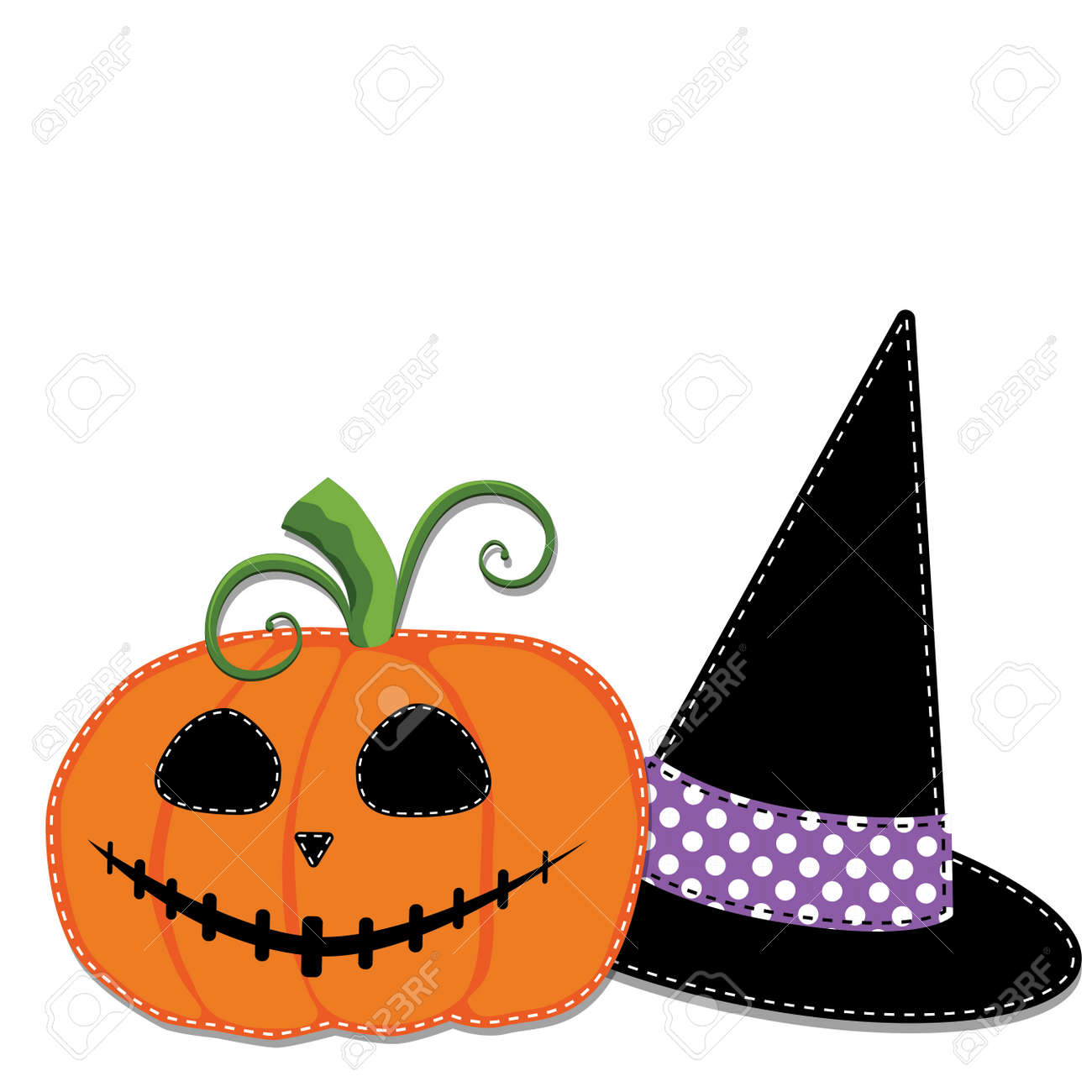 pumpkin or jack o lantern and witches hat vector on transparent rh 123rf com
