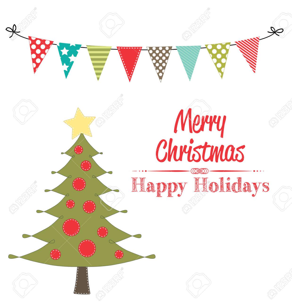 Weihnachtsbaum Clipart Mit Banner Und Wimpelgirlanden Auf