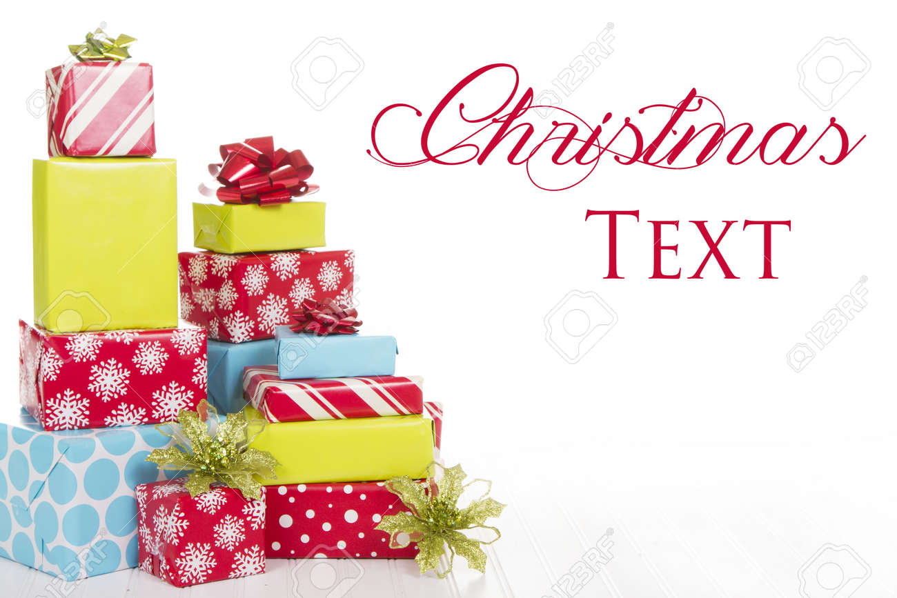 A Stack Of Christmas Presents With An Isolated White Background ...