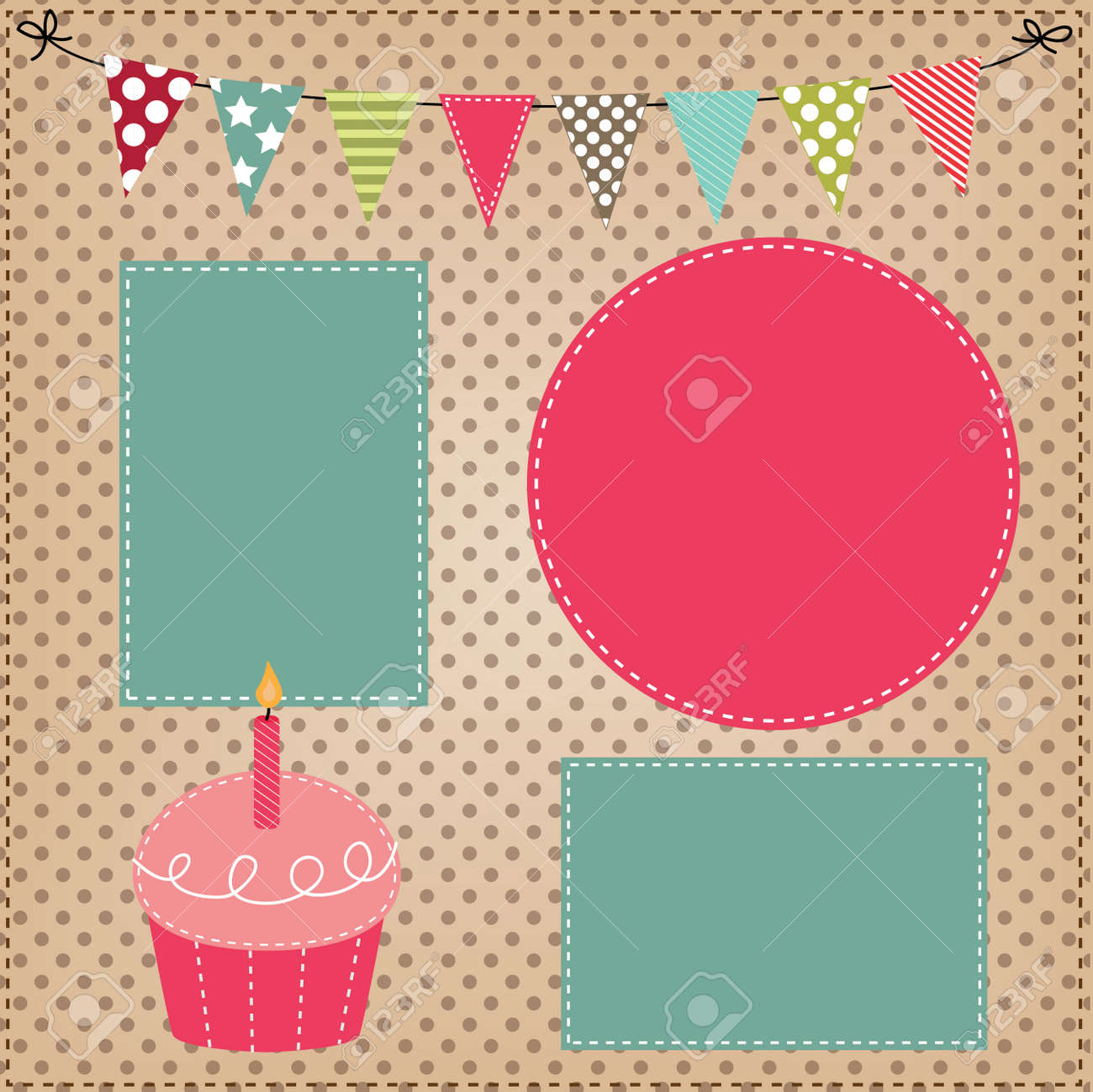 Cupcake template with bunting or flags and photo frames for birthday cupcake template with bunting or flags and photo frames for birthday party or bakery menus stock maxwellsz