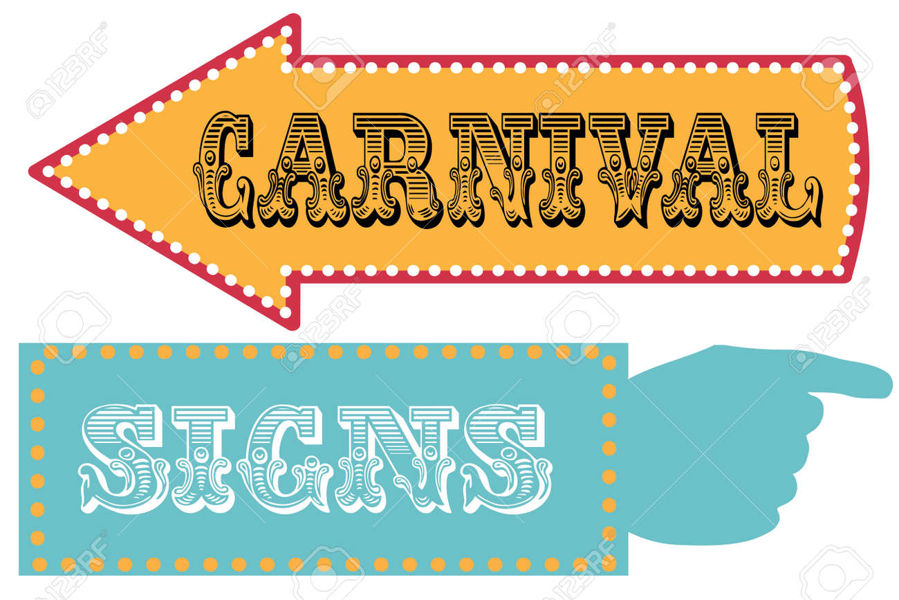 Carnival Sign Template Direction Signs With Arrow And Pointing ...