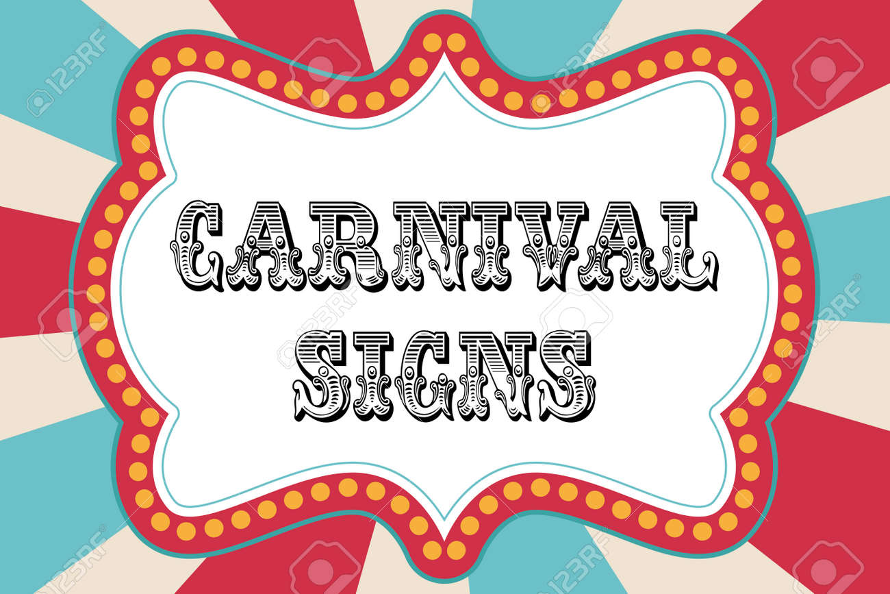 carnival sign template with red and blue royalty free cliparts