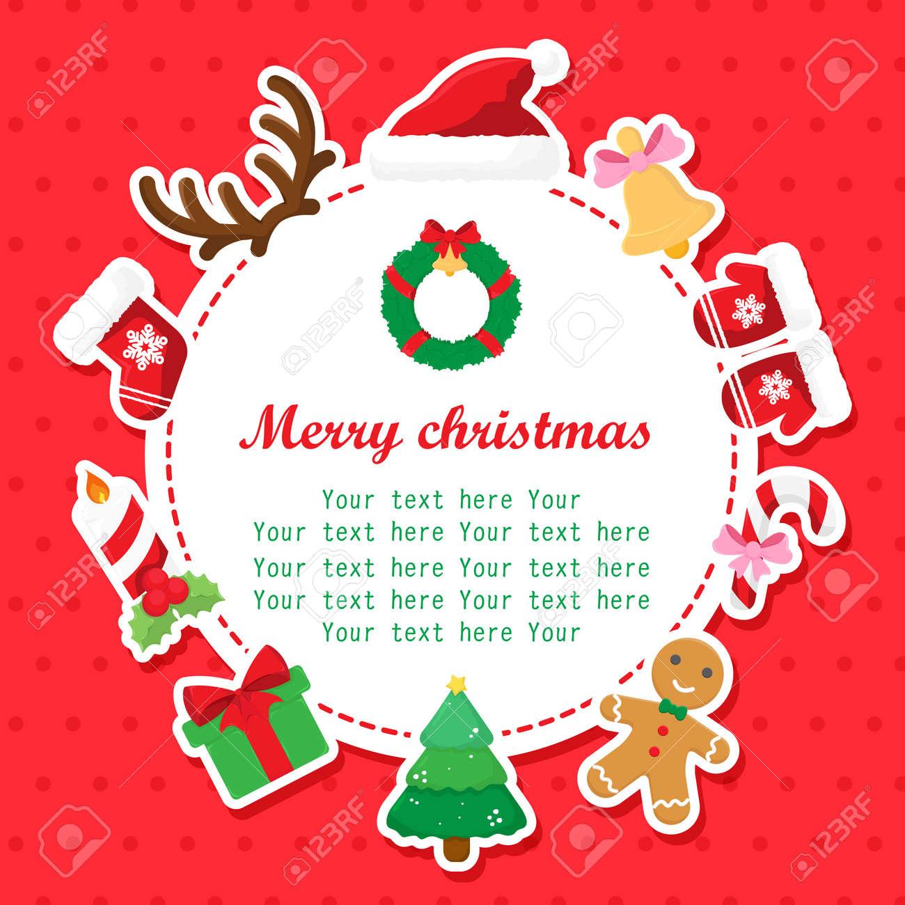 Tarjeta De Navidad Con El Lugar Para Su Texto Dibujos Animados Tarjeta De Invitación Con El Marco Del Tipo De Letra