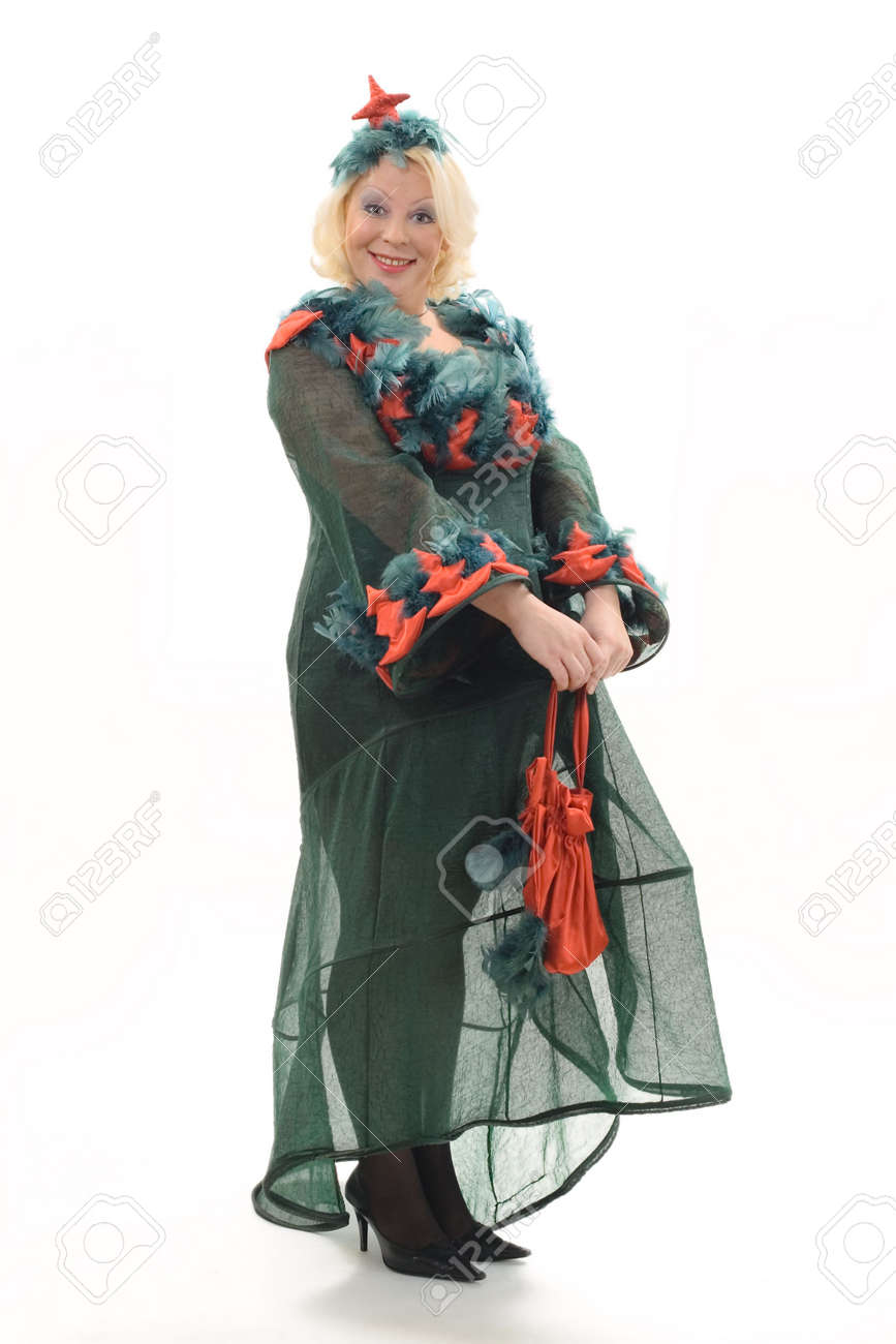 woman in the christmas tree costume on white background stock photo 636956 - Christmas Tree Costume