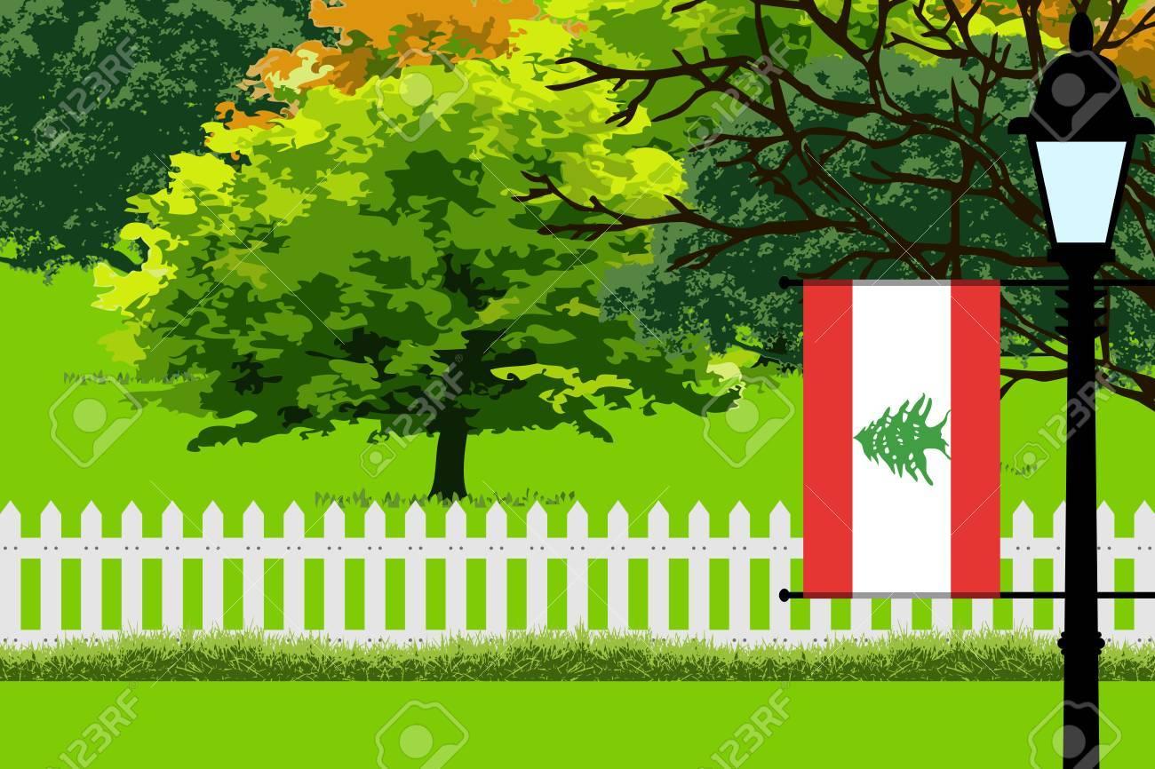 Libanon Flagge Landschaft Des Parks Baume Zaun Aus Holz Und