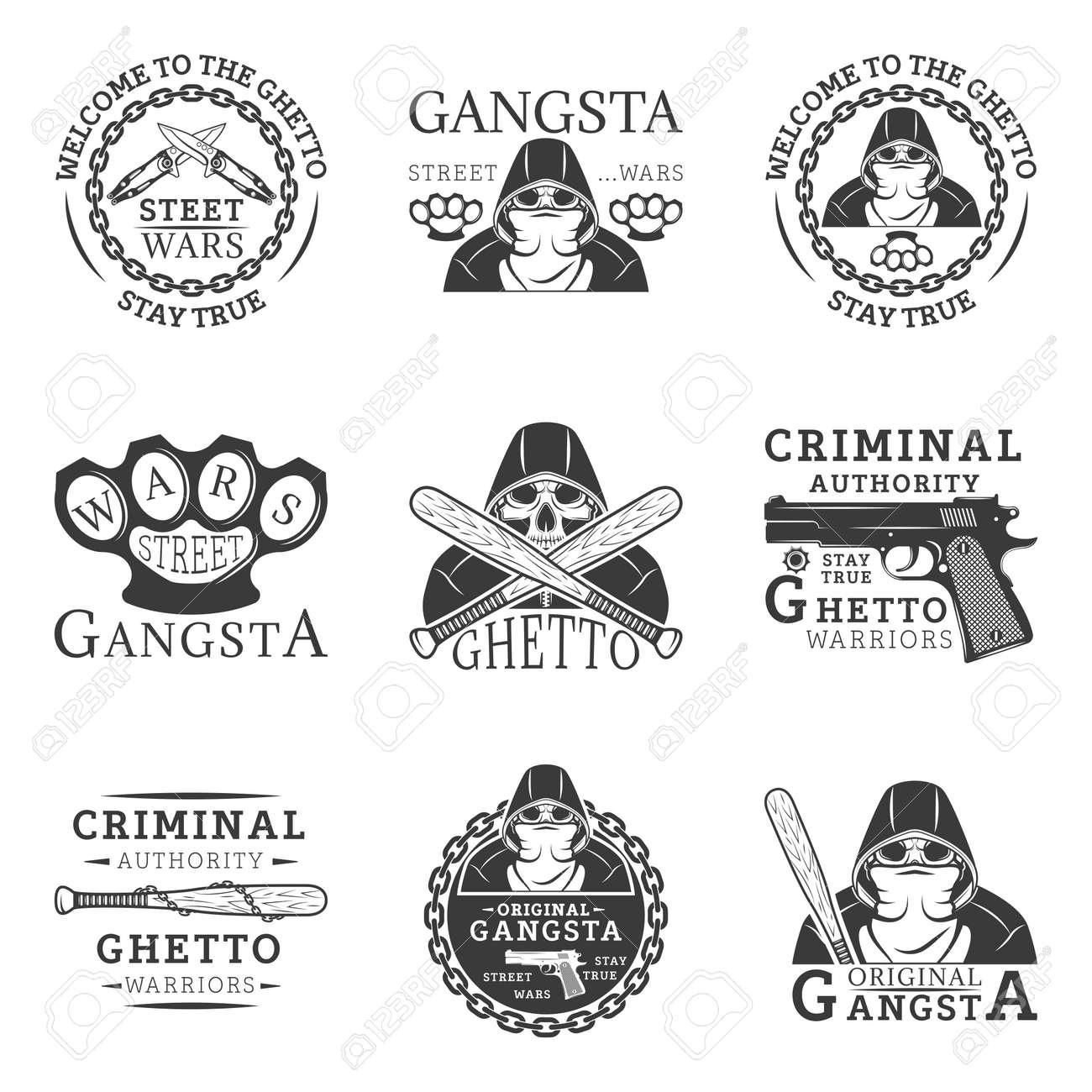 Gangster ghetto street wars set of vector vintage logos royalty gangster ghetto street wars set of vector vintage logos stock vector 73379701 sciox Gallery
