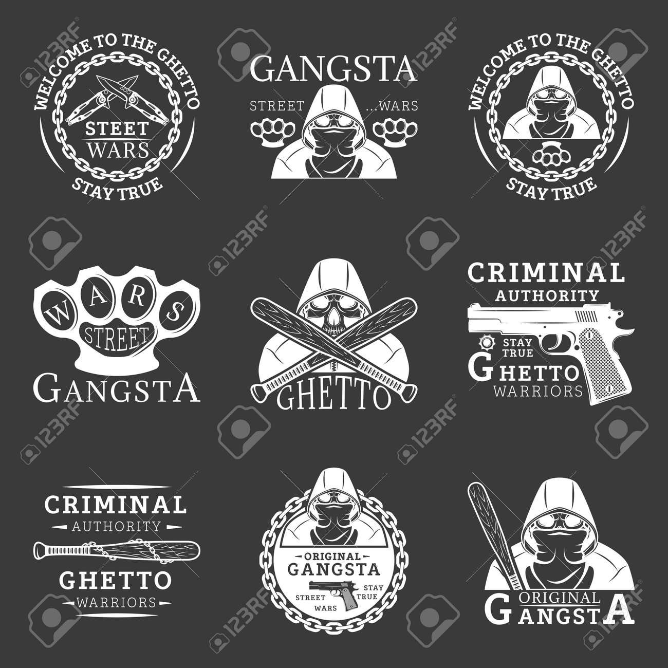 gangster ghetto street wars emblems in monochrome style for