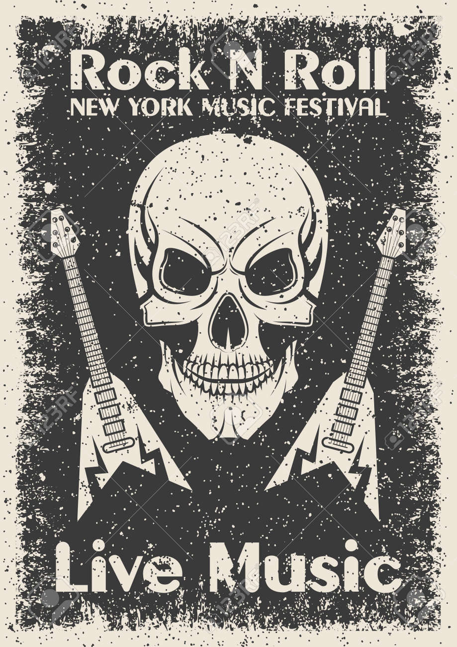 vintage rock n roll poster skull and guitar typographic for