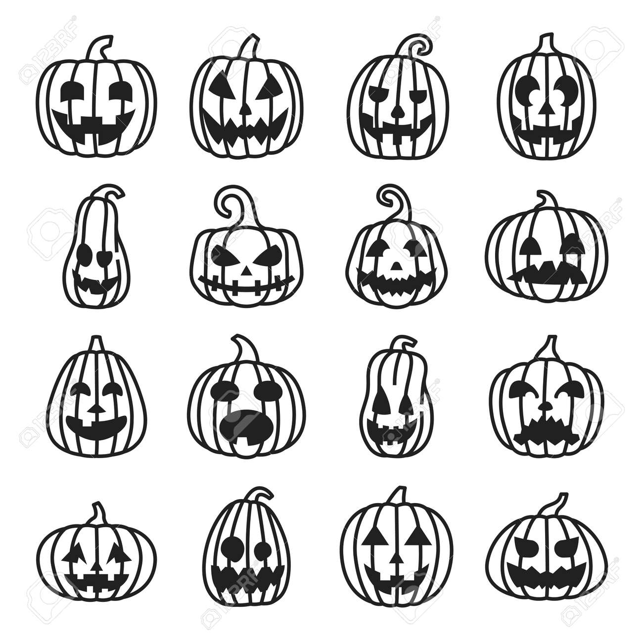 Pumpkin Halloween line icons set, funny and scary faces. - 136512924