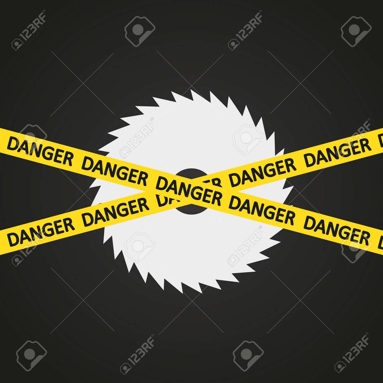 illustration danger tape harp circular saw Stock Vector - 19870320