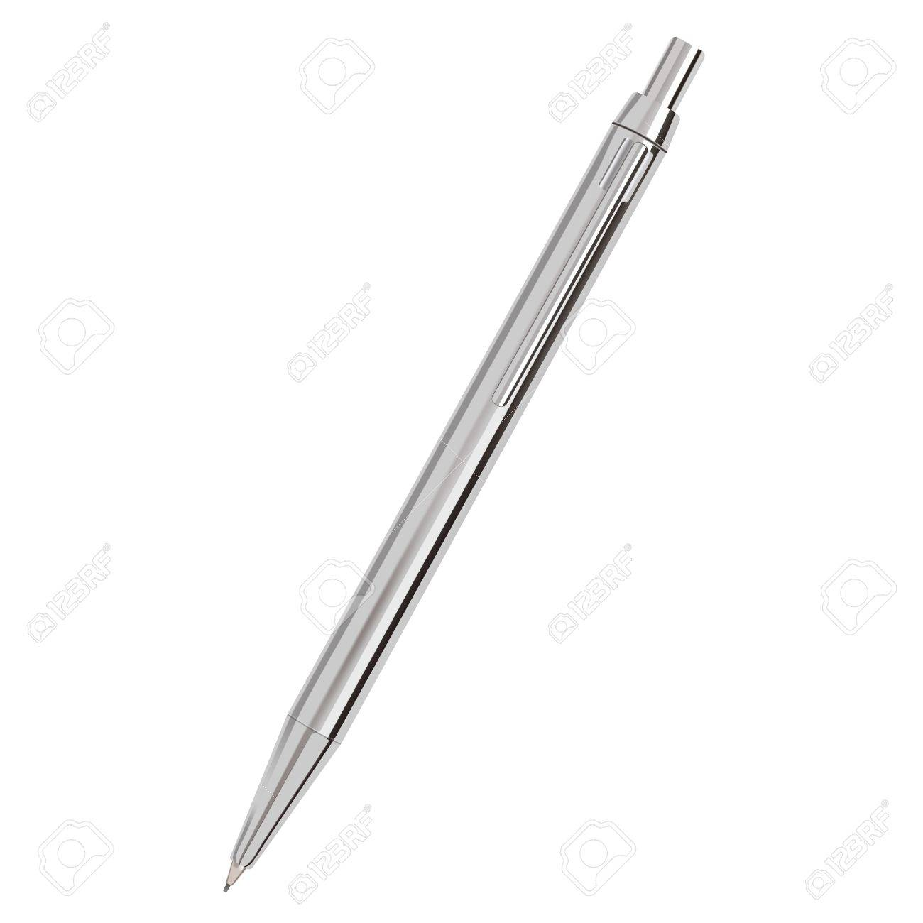 Silver Ballpoint Pen isolated on white Illustration Stock Vector - 19856239
