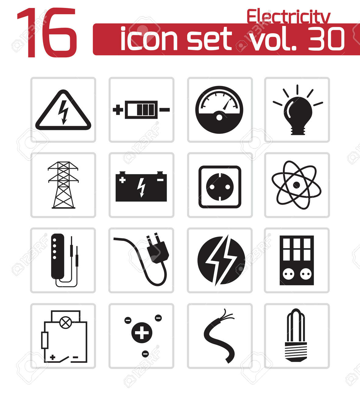Vector black electricity icons set Stock Vector - 21959746