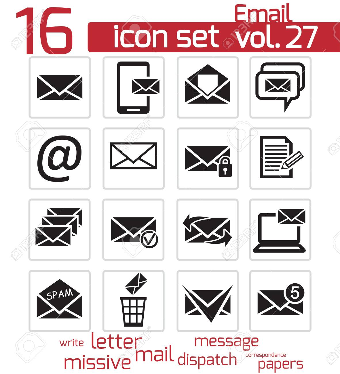 Vector black email icons set Stock Vector - 21959749
