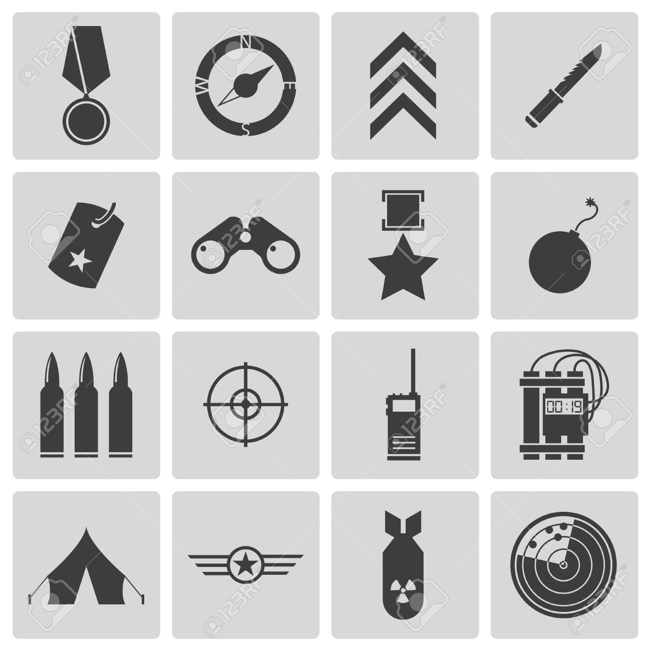 Vector black military icons set - 22069527