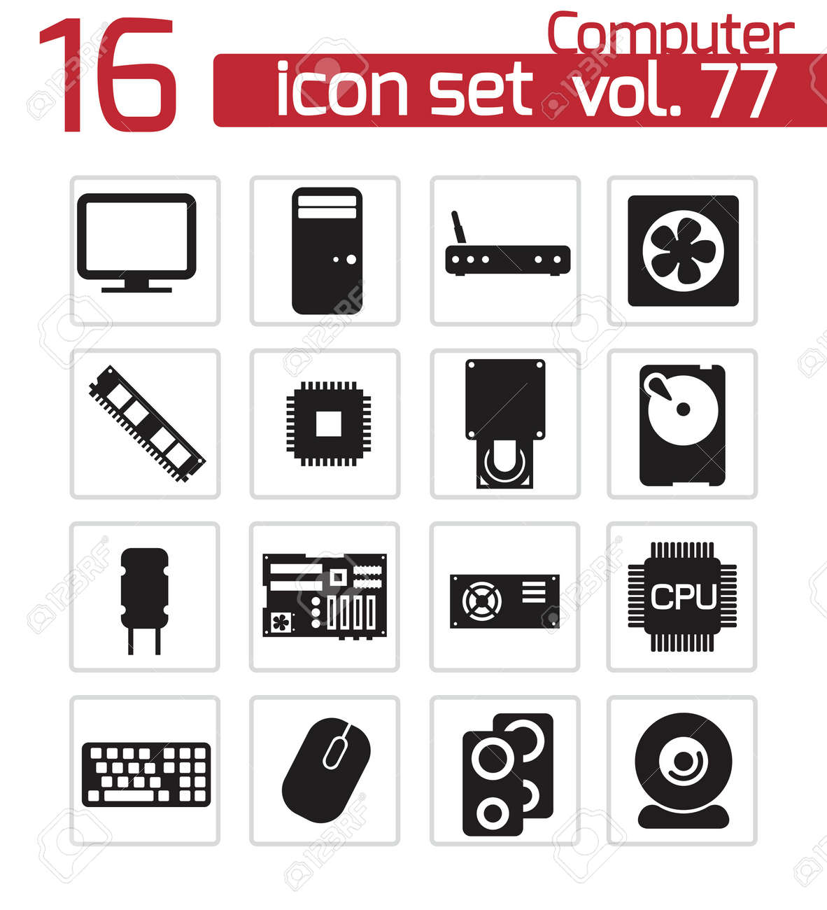 Vector black  PC components  icons set Stock Vector - 22150451