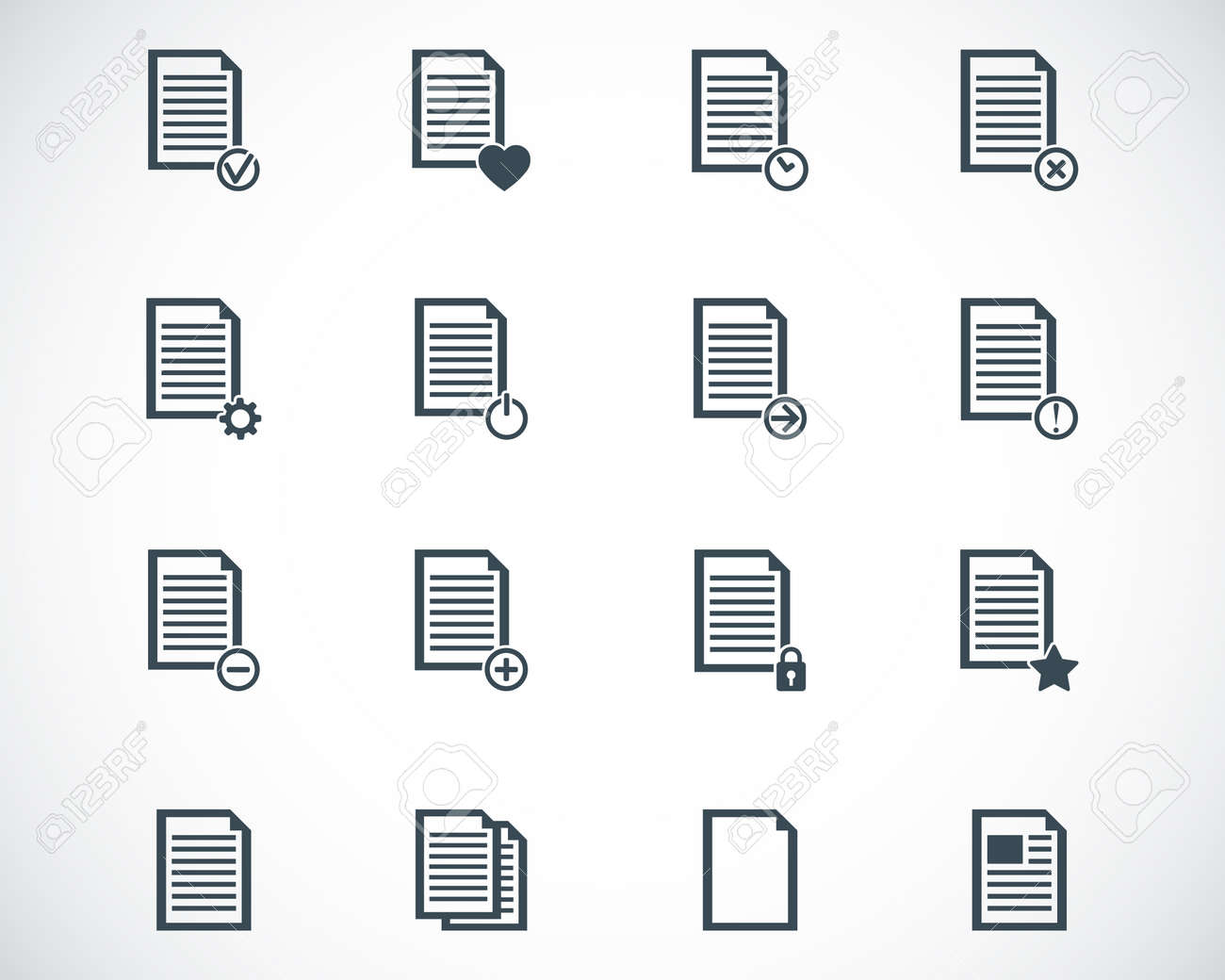 black  document icons set Stock Vector - 22577198